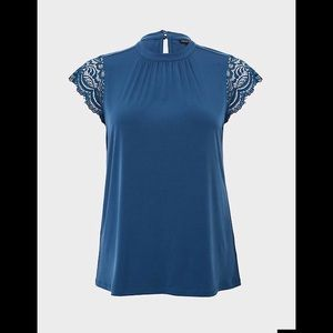 Torrid Dark Teal Studio Knit Lace Sleeve Top